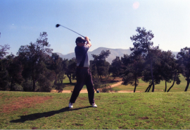With the ease and grace of a slightly older Justin Rose, Bob Simpson tees off in Glyfada