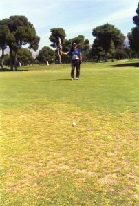 Not the easiest of greens in Glyfada; that pin seems an awfully long way away