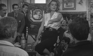 Melina Mercouri holding court in Never on a Sunday