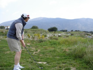 Steven Kampmann battling with the rough at Crete Golf Club on a fact-finding mission for Swing Away