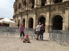 The first four in line outside the arena in Nimes; 7Uwe has the white hair (Photo: Barney Spender)