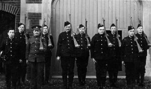 The South Down Battalion at Cooden Camp, Bexhill in February. Lance Corporal Cookson fourth from the left. (c Cookson family archive)