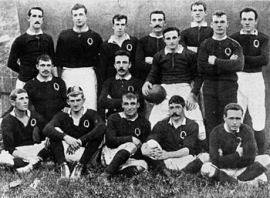 The Queensland team that beat the 1899 British Isles tourists. Arthur Corfe (standing, second from right) was then picked to play for Australia.
