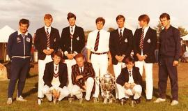 The 1981 Pangbourne College First VIII: Angus Thomas is kneeling secnd from left next to James Witter who would go on to win a Blue for Cambridge