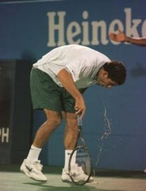 It ain't pretty but it works; Sampras clears the system before returning to the court