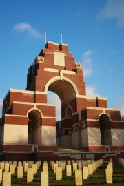 The brick red grandeur of the Thiepval Memorial where the names of 72,191 soldiers with no known grafve are remembered