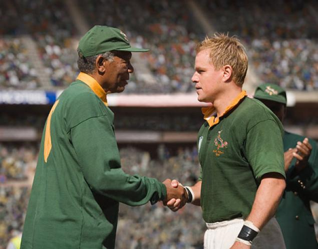 15e740f8e1f Morgan Freeman's Mandela congratulates Matt Damon's Pienaar after South  Africa's victory in the 1995 RWC final