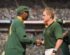 Morgan Freeman's Mandela congratulates Matt Damon's Pienaar after South Africa's victory in the 1995 RWC final