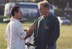 Francois Pienaar giving an interview to Barney Spender during the build-up to the 1995 World Cup (Photo: Grant Leversha)
