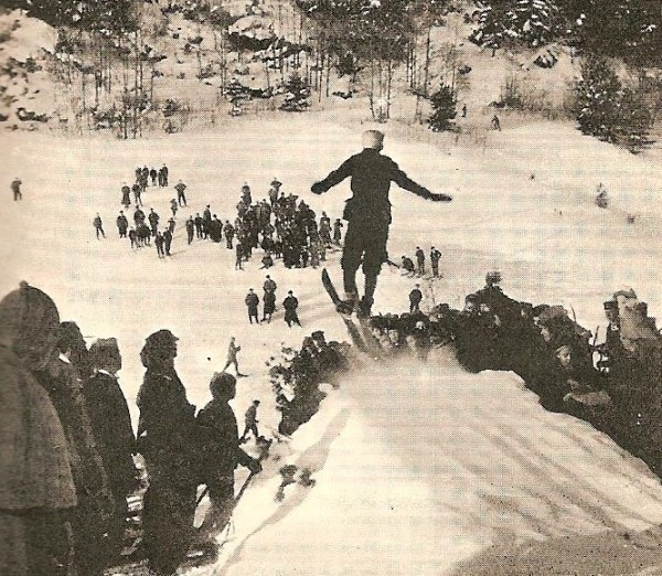 """Suspense"" - the moment of take-off, taken from the top of the jump (Photo: Arthur Edmund Spender)"