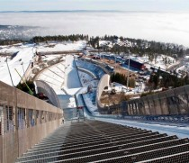 Holmenkollen, as it is today, still with the frozen lake at the base of the jump