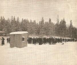 Awaiting the first arrivals near the final line (Arthur Edmond Spender)