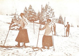 A group of skiers around 1900 using the long poles
