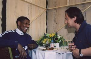 Haile Gebrselassie giving some good advice to a first-time marathoner