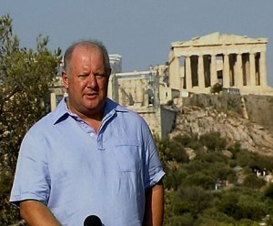 Malcolm Brabant on duty as the BBC's Athens correspondent