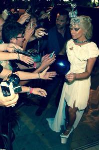 Lady Gaga on a visit to Athens in 2014 wearing a Tsagarakis creation (Photo: Spyridon Tsagarakis)