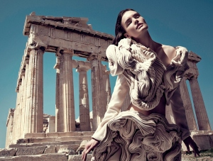 Artwear by Spyridon Tsagarkis: photographed at the Parthenon in Athens by George Katsanakis, 2014 Copyright: George Katsanakis