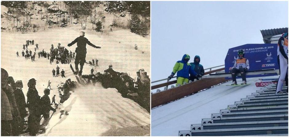 The black and white photo on the left was taken by my grandfather Arthur Edmund Spender at the Holmenkollen Games in 1900. The picture on the right was taken by me at the 2015 Universiade. The difference in the methods and kit are as striking as the way we takes photos. (Photos: Arthur Edmund Spender/Barney Spender)