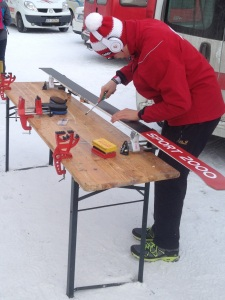 Careful preparation goes into the waxing of the skis before any cross-country event (Photo: Barney Spender 2015)