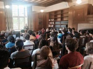 AE Stallings reading to a packed house at Rhodes House, Oxford, June 3 2015 (Photo: Julian Baird Gewitz)
