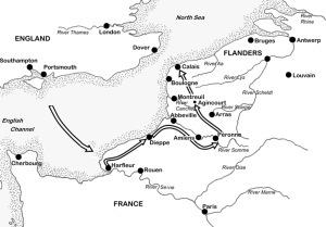 Henry's route from Harfleur to Agincourt (Scott Hall, ©Peter Hoskins / www.agincourt600.com)