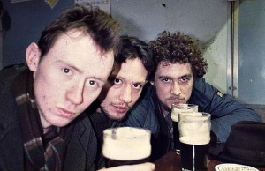 Sometimes stout was called upon to relieve the stress of studenthood. Roddy Gibson (right) and Barney Spender (centre) joined by Donald Clarrke in Maynooth 1985 (Photo: Barney Spender)