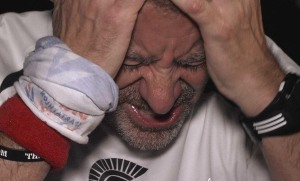 Rob Pinnington feeling the pain during the Spartathlon (Photo: The Road to Sparta)