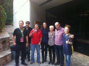 All smiles after the screening: L-R: Barney, Manos, Rob (not in training), Angie, Vicki Karpouzi, Roddy, Magda Gouma (Photo: Nick Petalas)